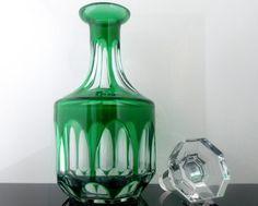 Emerald Green NACHTMANN 'Antika' Lead Crystal Whiskey Spirits Decanter // Diamond Cut Crystal Carafe // Mid Century German Barware