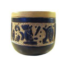 Image of Vintage Mexican Oaxacan Negro Incised Planter