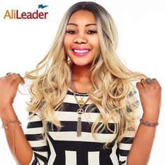 Alileader Hair Products Black To Blonde Wig Dark Roots , Body Wave Long Wigs Synthetic Hair Ombre Pruik