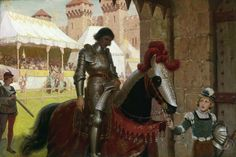 Pintura Caballero Caballo Edmund Blair Leighton Defeated Armadura