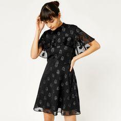 Warehouse, SOFT LUREX JACQUARD DRESS Black 1