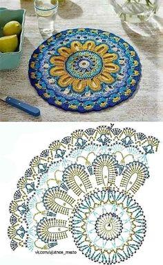 Motif Mandala Crochet, Crochet Blocks, Granny Square Crochet Pattern, Crochet Diagram, Crochet Stitches Patterns, Crochet Chart, Crochet Squares, Crochet Designs, Thread Crochet