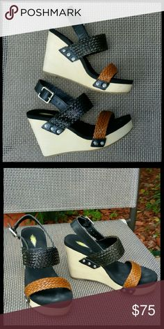 "Volatile Platform Sandals Sandals w/black and brown woven straps, a really soft rubber foot bed and a 3"" wood platform wedge heel. Volatile Shoes Platforms"