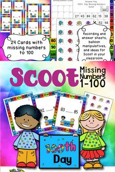 Do you want a fun game to play on the 100th Day of school? Delight your students with this adorable 100th Day MISSING NUMBERS SCOOT. This fun MISSING NUMBERS GAME by SOL Train Learning will have your kiddos UP AND MOVING, using cute balloon MANIPULATIVES as they learn about missing numbers UP TO 100. Pam's kiddos needed practice on number order so we decided to make these cute 100th Day cards for them to use. You can put them in a CENTER and then follow up by playing Scoot with them.
