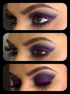 Use purple eyeshadow to make beautiful brown eyes pop!