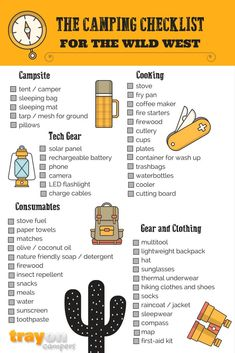The Camping essential checklist for the wild west! #camping #checklist #campingtips #hiking