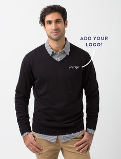 The Men's V-Neck Knit in Black is a fashionable and versatile layer item that can be worn all year round Uniform Shop, Staff Uniforms, Workwear Fashion, White Off Shoulder, Crop Top Shirts, Style Guides, Work Wear, Sexy Women, Men Sweater
