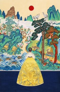 오늘의 작품 - 정미혜, <그곳을 그리다> 64x97cm Korean Painting, Japanese Painting, Collages, Korean Traditional, Traditional Art, Illustration Noel, Korean Art, China Art, Aesthetic Art