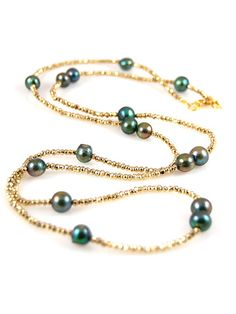 Gold Pyrite And Pearls Necklace by Alane Weissman from Alane Weissman Jewelry