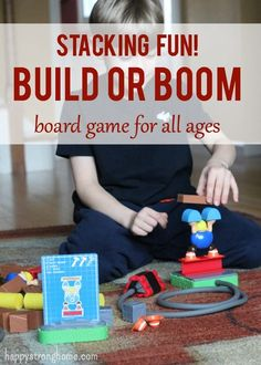 Build or Boom Board Game - a smashing fun game for all ages - activity cards keep kids playing, building, and demolishing - 2 players or just build solo! Fantastic critical thinking and fine motor skills.