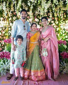 Brocade Blouse Designs, Kids Blouse Designs, Kids Lehenga Choli, Half Saree Lehenga, Indian Bridal Fashion, Indian Wedding Outfits, Family Outfits, Kids Outfits, Half Saree Function
