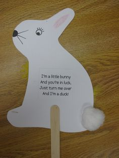 """Amazing puppet craft to use for the read aloud """"Duck Rabbit"""". Great for Easter. Easter Activities, Spring Activities, Craft Activities, Preschool Crafts, Library Activities, Preschool Songs, Kid Crafts, Preschool Activities, Easter Art"""