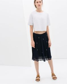 Navy Blue Pleated Skirt with Bead Detail | Zara