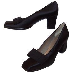 Preowned 'le Smoking' C.1990 Yves Saint Laurent Black Peau De Soie... ($195) ❤ liked on Polyvore featuring shoes, black, black bow shoes, black high heel shoes, narrow shoes, embellished flat shoes and square toe shoes