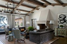 California Coastal  Family Room  Living  Architectural Details  Coastal  Transitional by Mark Weaver