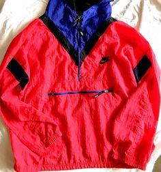 Retro NIKE Grey Tag Track Jacket Windbreaker Pullover 3/4 zip OG Men's Size M #Nike #Windbreaker