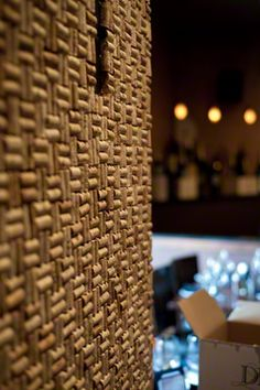 A cork wall decoration in a wine bar