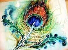 watercolor tattoo peacock, minus the dark green scrolls in the background...