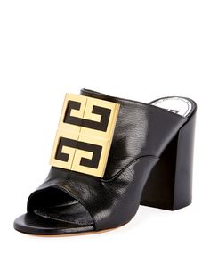 Leather Logo Slide Sandals - Golden Hardware by Givenchy at Bergdorf Goodman. Shoes Heels Pumps, High Knees, Slide Sandals, Leather Sandals, Block Heels, Givenchy, Open Toe, Heeled Mules, Hardware