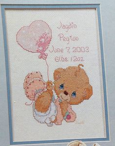 Precious Moments LITTLE LOVE Baby Birth Announcement - Counted Cross Stitch Pattern Chart - fam. $4.75, via Etsy.