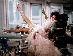 Sophia Loren in beautiful pink negligee