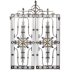 View this item and discover similar for sale at - Architectural pair of star design wrought iron hand hammered gates. Have a flare of Tuscan Old World charm with a dash of medieval. Obelisk Trellis, Iron Windows, Classical Elements, Wrought Iron Gates, Door Gate, Garden Doors, Modern Door, Garden Architecture, Iron Work