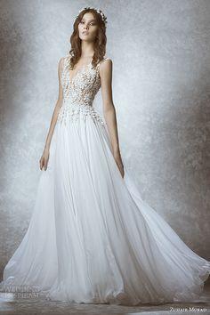 zuhair murad bridal fall 2015 wedding dress v neck neckline sleeveless leaf embroidery sheer bodice a line gown style manon