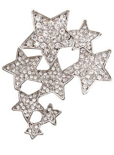 Silver shooting stars blingback