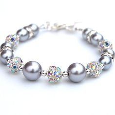 Silver Bridesmaid Bracelet Pearl and Rhinestone by AMIdesigns, $22.00