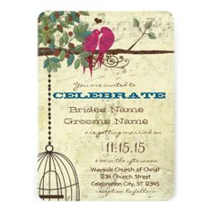 Pink Teal Love Birds Sitting In A Tree Wedding Personalized Invites