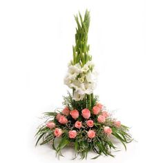 Check out our New Products  Passion Basket Arrangements Cute basket arrangement of 20 pink roses with 10 white Gladiolus.  Rs.1,047