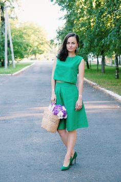 Anna Kos: GREEN TOP & SKIRT SET