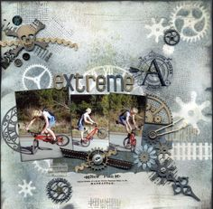 Scrap FX products featured here: Skull and crossbones, cogs and gears, clock hands, funky alphabet (extreme), train tracks, clock face silhouette. www.scrapfx.com.au