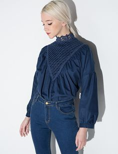 Navy Crochet Balloon Sleeve Blouse #fashion #valentine #pixiemarket