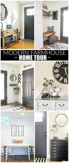 Modern industrial farmhouse home tour. www.littlehouseoffour.com