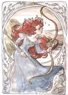 Mucha inspired Merida by Disney Fan Art, Disney Love, Brave Disney, Disney Artwork, Disney Pixar, Deviant Art, Illustrations, Illustration Art, Disney Princess Merida