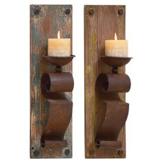 DecMode 19 in. Wood Candle Wall Sconce - Set of 2 - 50915