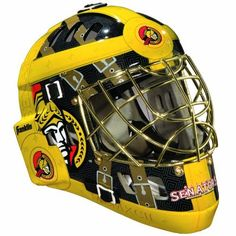 """NHL Ottawa Senators SX Comp GFM 100 Goalie Face Mask by Franklin. $54.54. Official NHL Team colors and logos. Recommended sizing for ages 5 to 9. Molded high-impact ABS plastic, AEGIS MICROBE SHIELD antimicrobial technology and Chrome finish welded steel cage. Only for Street Hockey use with official size (2 5/8"""") street hockey ball-Not HECC/CSA certified (not for ice hockey or any type of """"puck"""" play) / Designed to reduce, not prevent, injury. Anatomically designed ACD vented s..."""