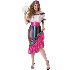 South of the Border Adult Costume - This South of the Border costume includes:  multi-colored headpiece, pink belt, and matching dress.  Tambourine not included. One-Size.