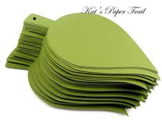 "Wedding Wish Tree Leaves - Moss Green Paper Leaves -  Holes in Stem  -  Set 0f 50 - 4"" x 2"" on Etsy, $12.95"