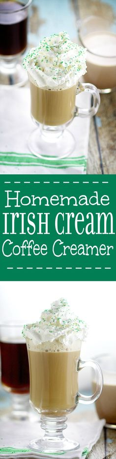 Homemade Irish Cream Coffee Creamer recipe. Make your own Homemade Irish Cream Coffee Creamer in just 20 minutes that tastes even more amazing than your favorite from the store. A frugal and delicious way to have your morning coffee.