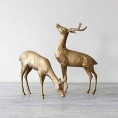 vintage brass deer . @Melissa Henson Rachal of Pinwheel is this the same set you have in your shop??