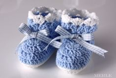 Blue and White Crochet Baby Booties Baby Socks Baby by MerleCrafts