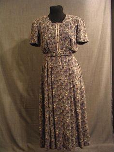 Costumes/20th Century/1930's/Women's Wear/1930's Women's Dresses/09007218 Dress navy geometric print B36 W30