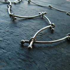 Silver Handmade Chain Stick Modern Necklace by mylenefoster, $158.00