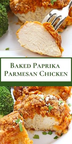 Baked paprika parmesan chicken chicken recipes in Chicken Parmesan Recipes, Paprika Parmesan Baked Chicken, Tasty, Yummy Food, Delicious Recipes, Healthy Recipes, Dessert, Turkey Recipes, Food Dishes