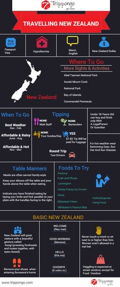 Get complete information about sightseeing and tourist destinations in New Zealand travelling infographic.