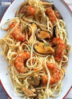 Spaghetti frutti di mare, the pasta recipe for those who love seafood, Tapas Recipes, Healthy Pasta Recipes, Healthy Pastas, Seafood Recipes, Gourmet Recipes, Italian Recipes, Mexican Food Recipes, Chicken Recipes, Cooking Recipes