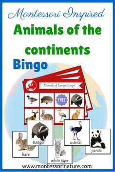 Montessori Inspired Animals of the Continents Bingo Printable | Montessori Nature