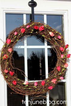 Ten June: A Pretty Pink DIY Spring Wreath